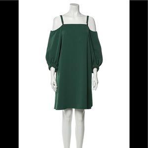 Tibi cold shoulder green midi dress, EUC, size 6